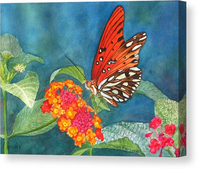 Butterfly Canvas Print featuring the painting Butterfly With Flower by Sharon Farber