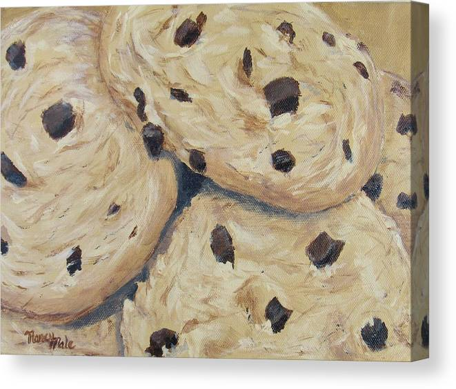 Dessert Canvas Print featuring the painting Chocolate Chip Cookies by Nancy Nale