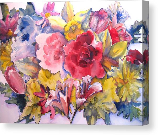 Collage Canvas Print featuring the painting Collage Of Flowers by Joyce Kanyuk