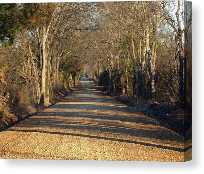 Roads Canvas Print featuring the photograph Down The Gravel Road by Diane Luke