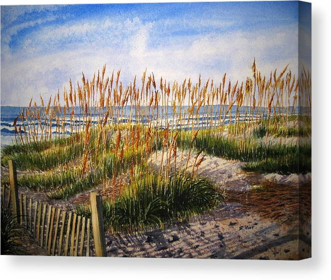 Landscape Canvas Print featuring the painting Dunes At Dawn by Shirley Braithwaite Hunt