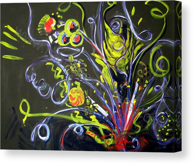 Vines Canvas Print featuring the painting Fireworks Two by Rebecca Merola