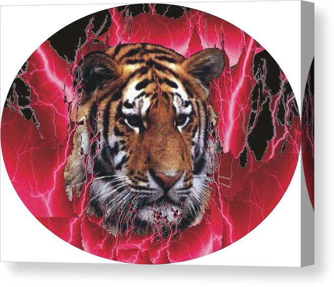 Canvas Print featuring the photograph Flame Tiger by Kathy Frankford