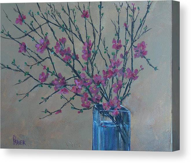 Flowers Canvas Print featuring the painting Flowering Quince by Pete Maier