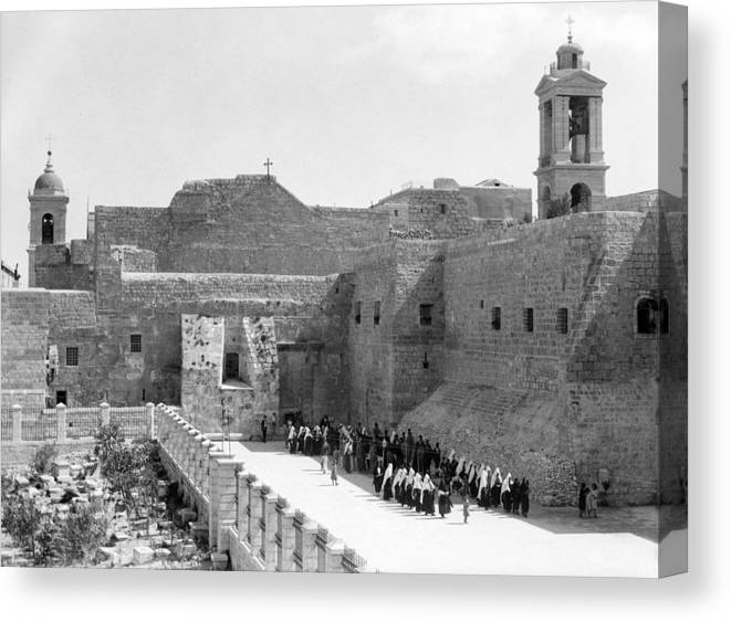 Bethlehem Canvas Print featuring the photograph Funeral Procession In Bethlehem During 1934 by Munir Alawi