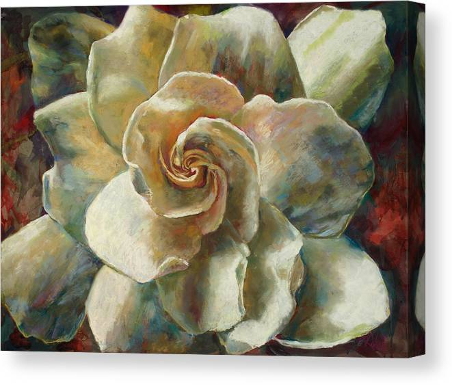 Billie J Colson Floral Art Canvas Print featuring the painting Gardenia by Billie Colson