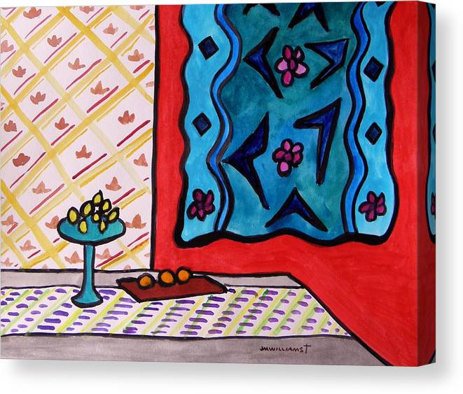 Fruit Canvas Print featuring the painting Hanging In Blues On Red by John Williams