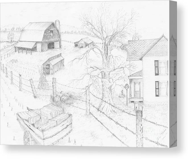 Realistic Drawing Canvas Print featuring the drawing Harvest Time At Home by Dan Theisen