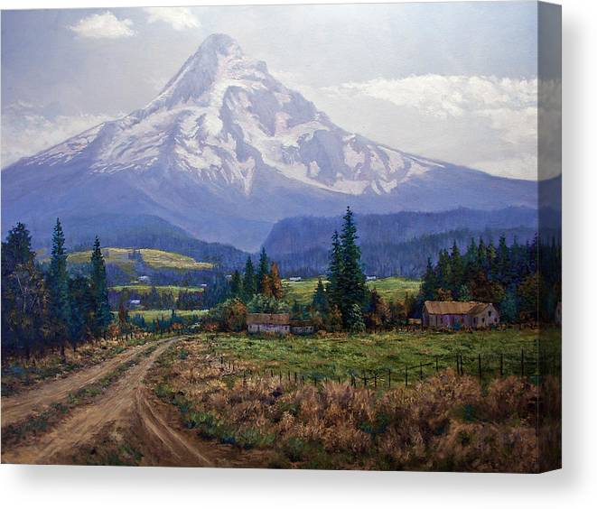 Mt Hood Oregon From Hood River Valley Canvas Print featuring the painting Hood River Valley by Donald Neff