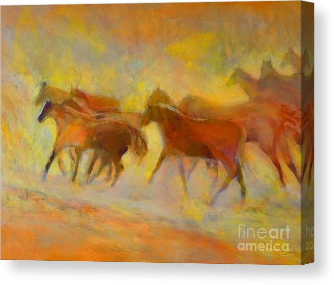 Horses Canvas Print featuring the painting Hot Things by Kip Decker