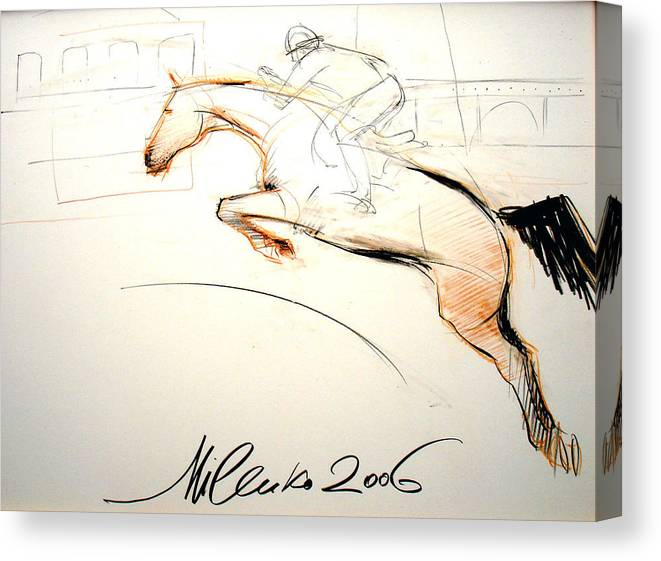 Horses Canvas Print featuring the drawing Jump by Milenko Katic
