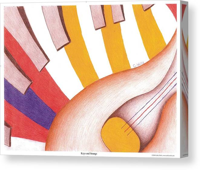 Piano Canvas Print featuring the painting Keys And Strings by Cedric Wells