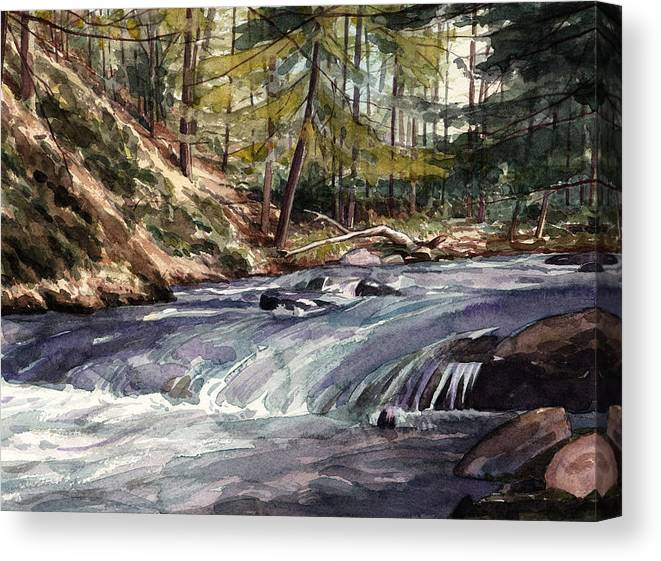 Mountain Stream Canvas Print featuring the painting Laurel Run by Jeff Mathison