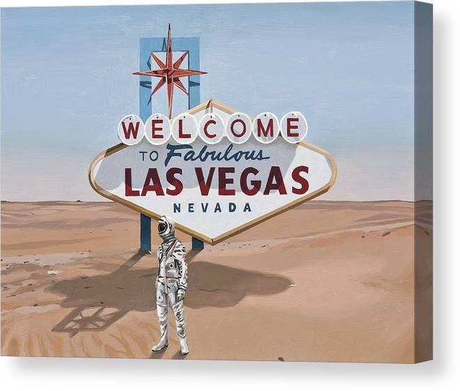Astronaut Canvas Print featuring the painting Leaving Las Vegas by Scott Listfield