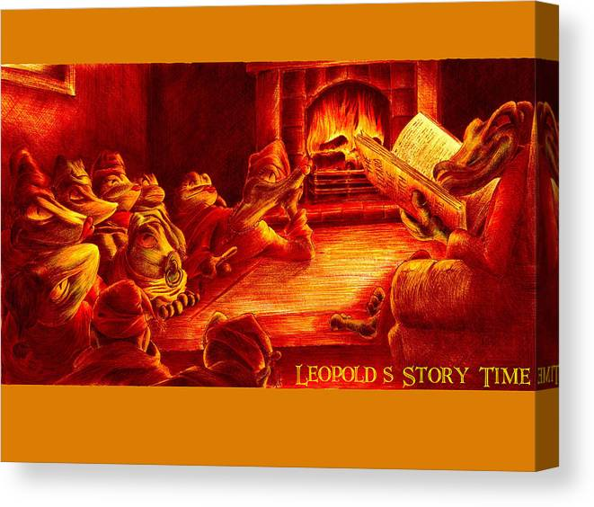 Lizard Canvas Print featuring the drawing Leopold's Storytime by Martin Williams