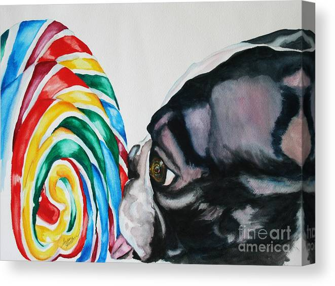 Lollipop Canvas Print featuring the painting Lolli Pup by Susan Herber