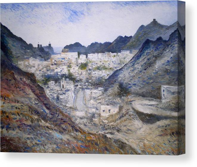 Muscat Oman. Enver Larney. Fine Art. Impressionism Canvas Print featuring the painting Muscat Old Town Oman 2002 by Enver Larney
