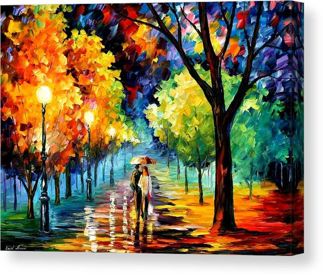Afremov Canvas Print featuring the painting Night Alley by Leonid Afremov