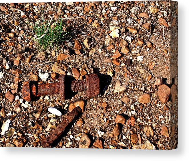 Rusted Canvas Print featuring the photograph Nuts And Bolts Rusted by Douglas Barnett