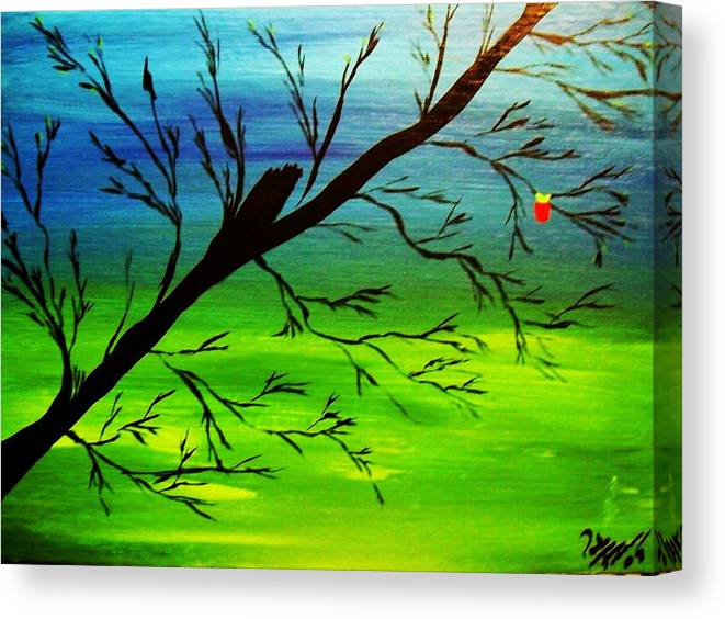 Tree Canvas Print featuring the painting One Alive by Paula Ferguson