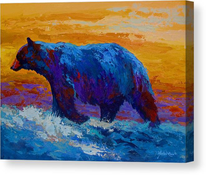 Bear Canvas Print featuring the painting Rivers Edge I by Marion Rose