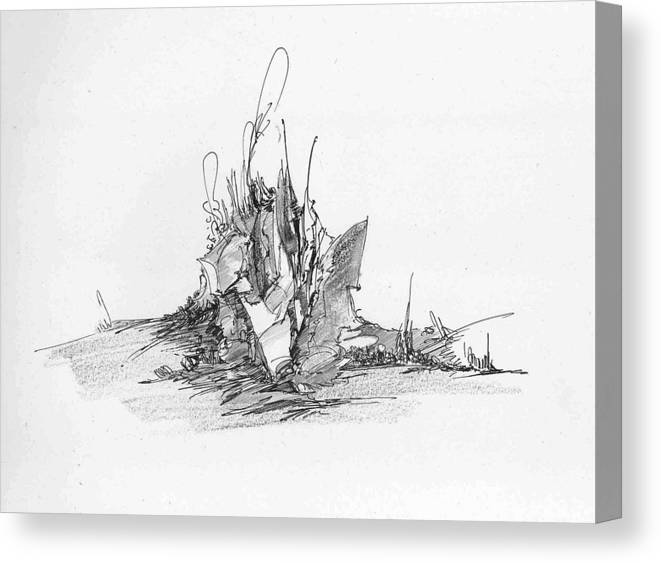 Landscape Canvas Print featuring the drawing Rockscape 4 by Padamvir Singh