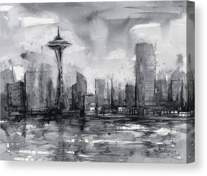 Seattle Canvas Print featuring the painting Seattle Skyline Painting Watercolor by Olga Shvartsur