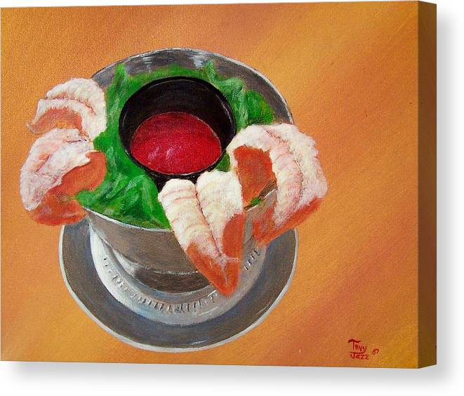 Food Canvas Print featuring the painting Shrimp Cocktail by Tony Rodriguez