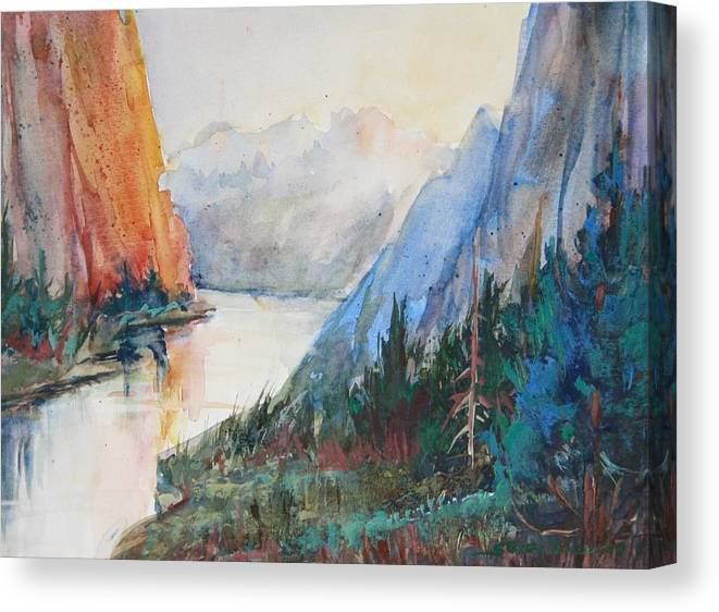 Smith Rock Canvas Print featuring the painting Smith Rock Morning 2 by Sukey Watson