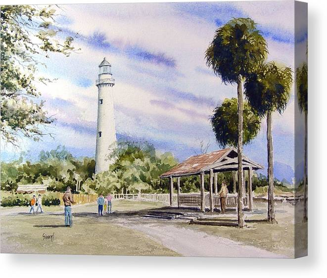 Lighthouse Canvas Print featuring the painting St. Simons Island Lighthouse by Sam Sidders