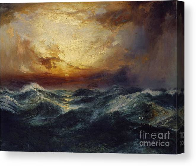 Sunset After A Storm Canvas Print featuring the painting Sunset After A Storm by Thomas Moran