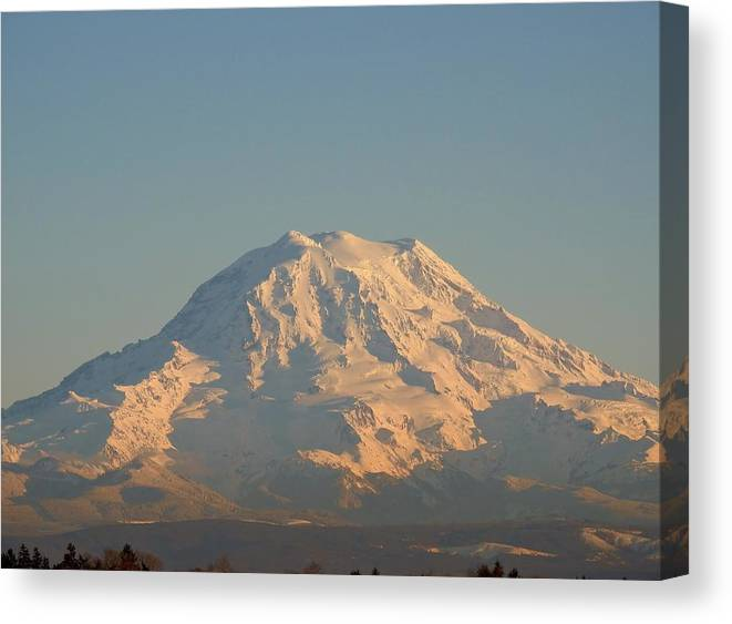 Canvas Print featuring the photograph Sunset On Mt. Rainier by Garry Toft