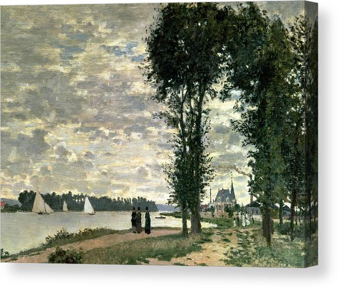 French Canvas Print featuring the painting The Banks Of The Seine At Argenteuil by Claude Monet