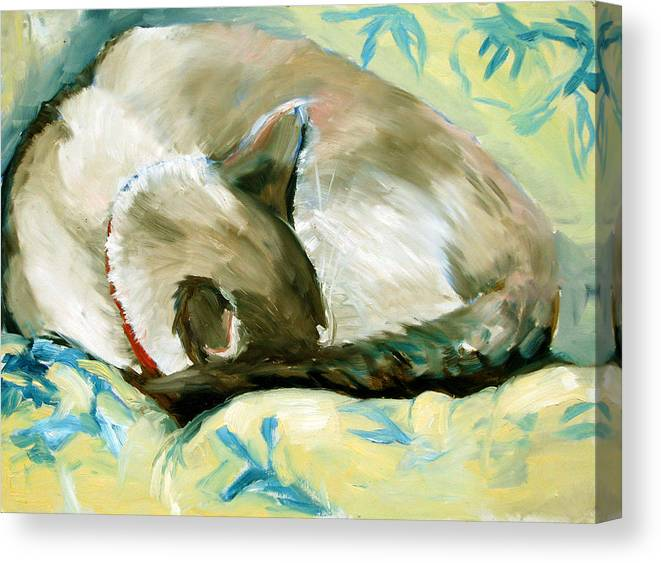 Cat Canvas Print featuring the painting Turtle by Art Nomad Sandra Hansen