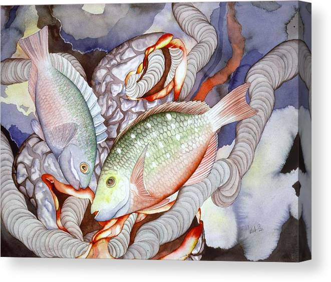 Sealife Canvas Print featuring the painting Two Parrots by Liduine Bekman