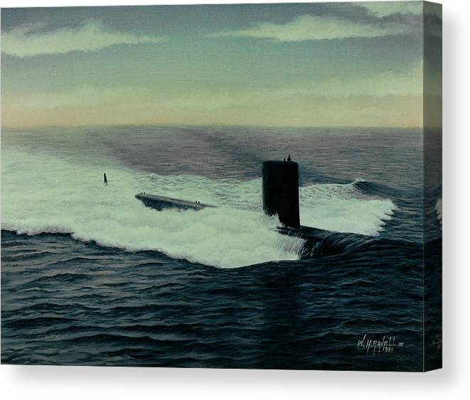 Submarine Canvas Print featuring the painting Uss Topeka by William H RaVell III