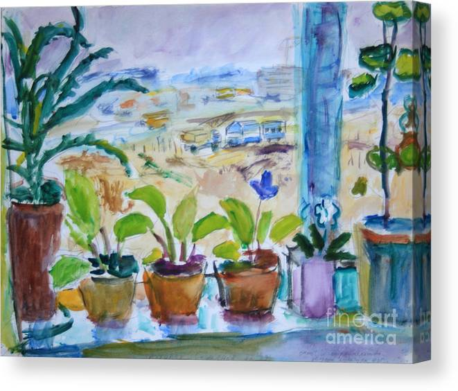 Still Life Canvas Print featuring the painting Windowsill by Andrey Semionov