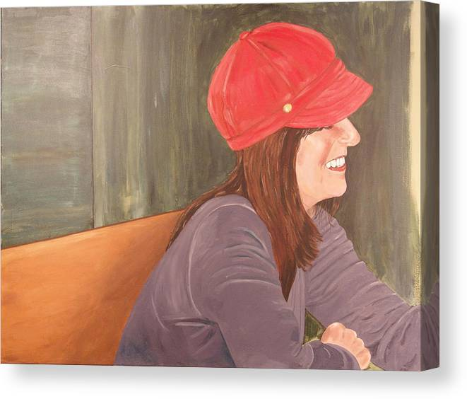 Woman Canvas Print featuring the painting Woman In A Red Cap by Kevin Callahan