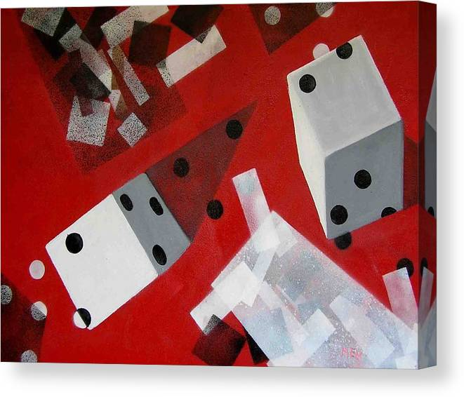Dice Canvas Print featuring the painting Wwhite Dice With Runaway Dots by Evguenia Men