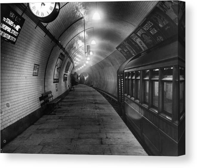9cadfbdcf26 Subway Canvas Print featuring the photograph London Underground by Topical  Press Agency