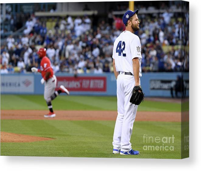 People Canvas Print featuring the photograph Cincinnati Reds V Los Angeles Dodgers 4 by Harry How