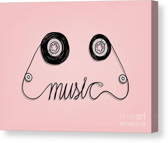 Play Canvas Print featuring the digital art Cassette Tape Music Graphic by Vazzen