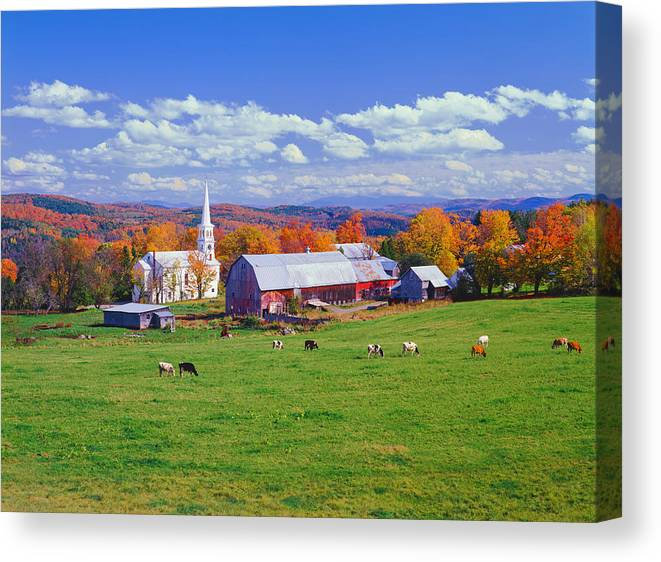 Scenics Canvas Print featuring the photograph Lush Autumn Countryside In Vermont With by Ron thomas