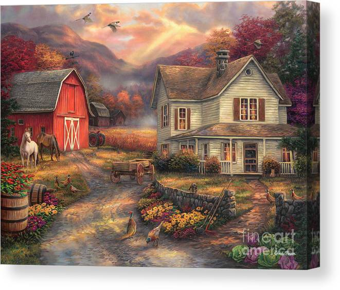 Old Farm Canvas Print featuring the painting Relaxing On The Farm by Chuck Pinson