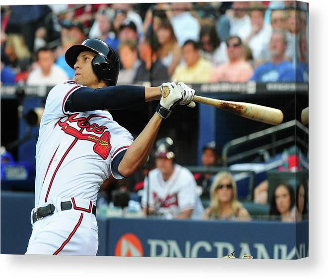 Atlanta Canvas Print featuring the photograph Andrelton Simmons by Scott Cunningham