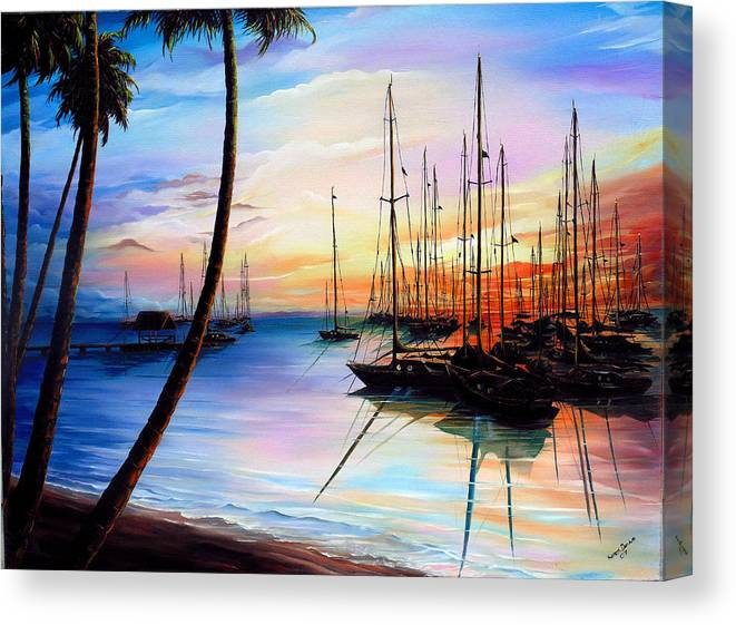 Ocean Painting Seascape Yacht Painting Sailboat Painting Sunset Painting Tropical Painting Caribbean Painting Yacht Painting At The End Of A Yachting Regatta At Pigeon Point Tobago Painting Canvas Print featuring the painting Days End Yachting Regatta At Pigeon Point Tobago by Karin Dawn Kelshall- Best