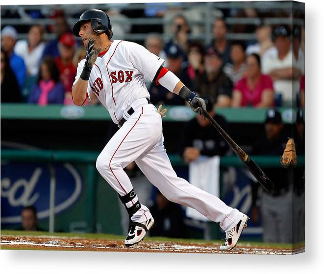 American League Baseball Canvas Print featuring the photograph Dustin Pedroia by J. Meric