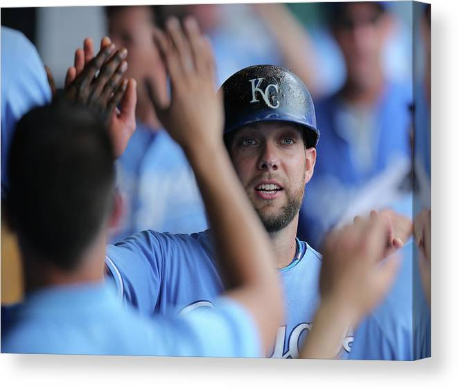 Second Inning Canvas Print featuring the photograph Justin Maxwell And Alex Gordon by Ed Zurga