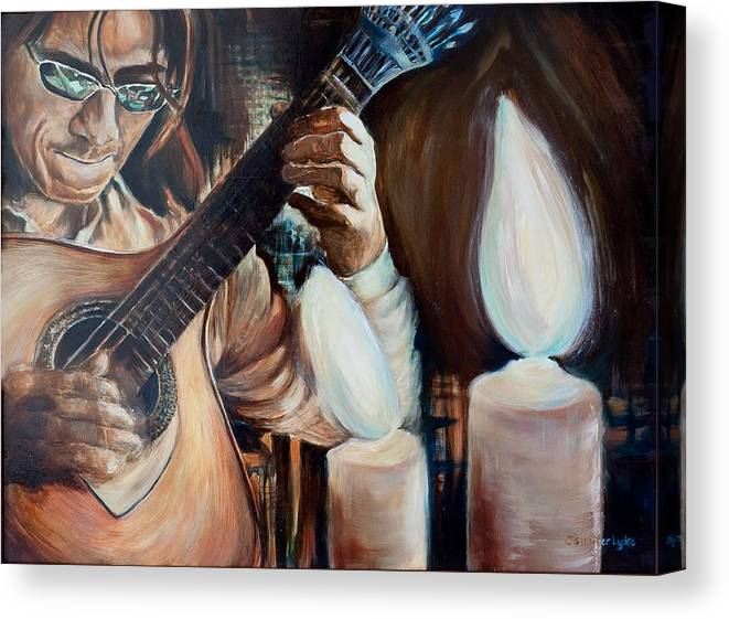 Guitar Canvas Print featuring the painting La Guitarra- Portuguese Guitar by Jennifer Lycke