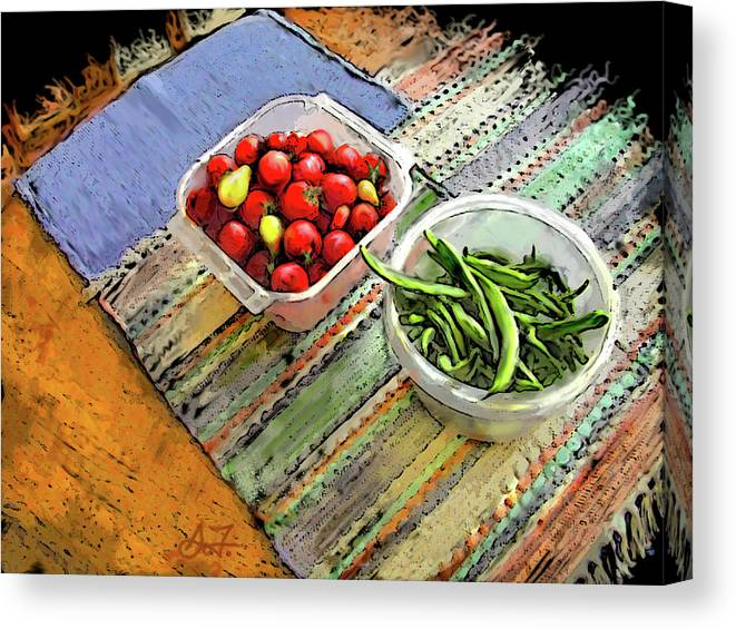 Digital Canvas Print featuring the digital art Veggies by Arthur Fix